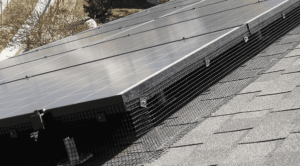 Metal mesh surrounds solar panel system to prevent animals from damaging system. Image credit: Spiffy Solar.