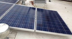Flat roof mounted solar panels in DC