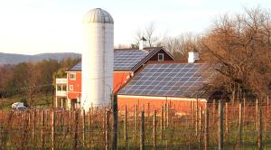 A barnhouse solar array installed by GreenBrilliance