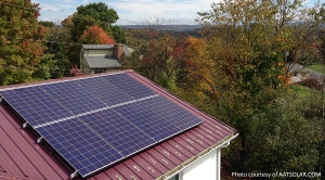 A solar roof looking out over West Virginia forest