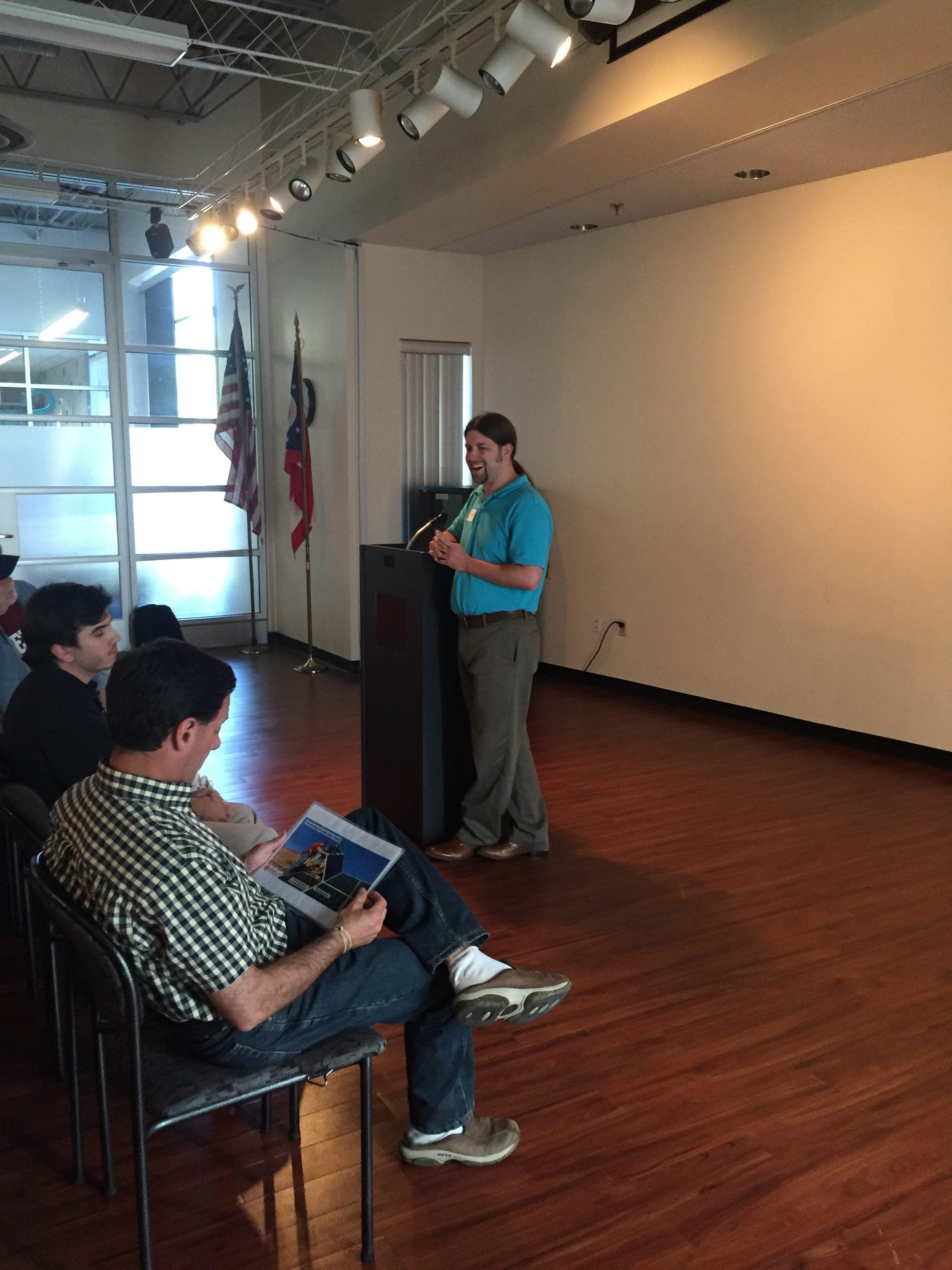 Luke Sulfridge leads co-op meeting