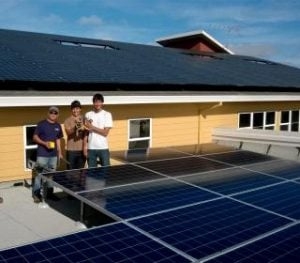 Solar panel installation team