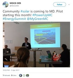 Community Solar is Coming to MD tweet