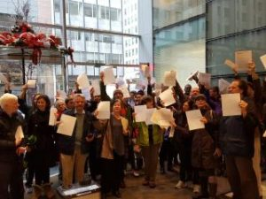 DC solar advocates demonstrate against Exelon's attempted takeover of Pepco.