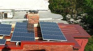 Solar arrays on a D.C. rooftop