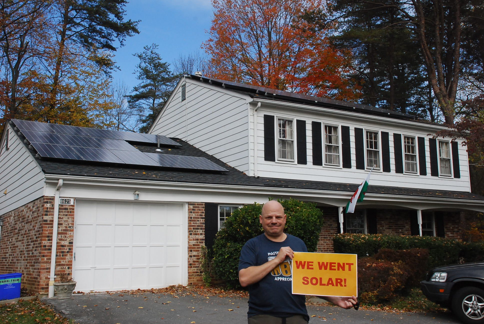 Peter Zielinski with his solar installation