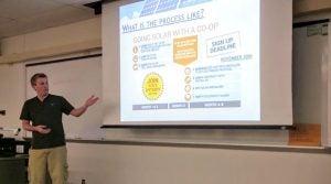 Derek Grozio presenting co-op info