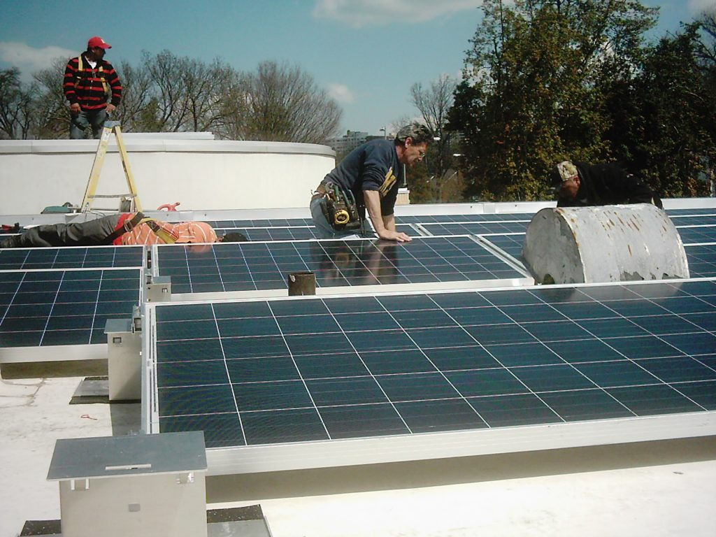 Solar panel installation on a commercial building in Washington, D.C.
