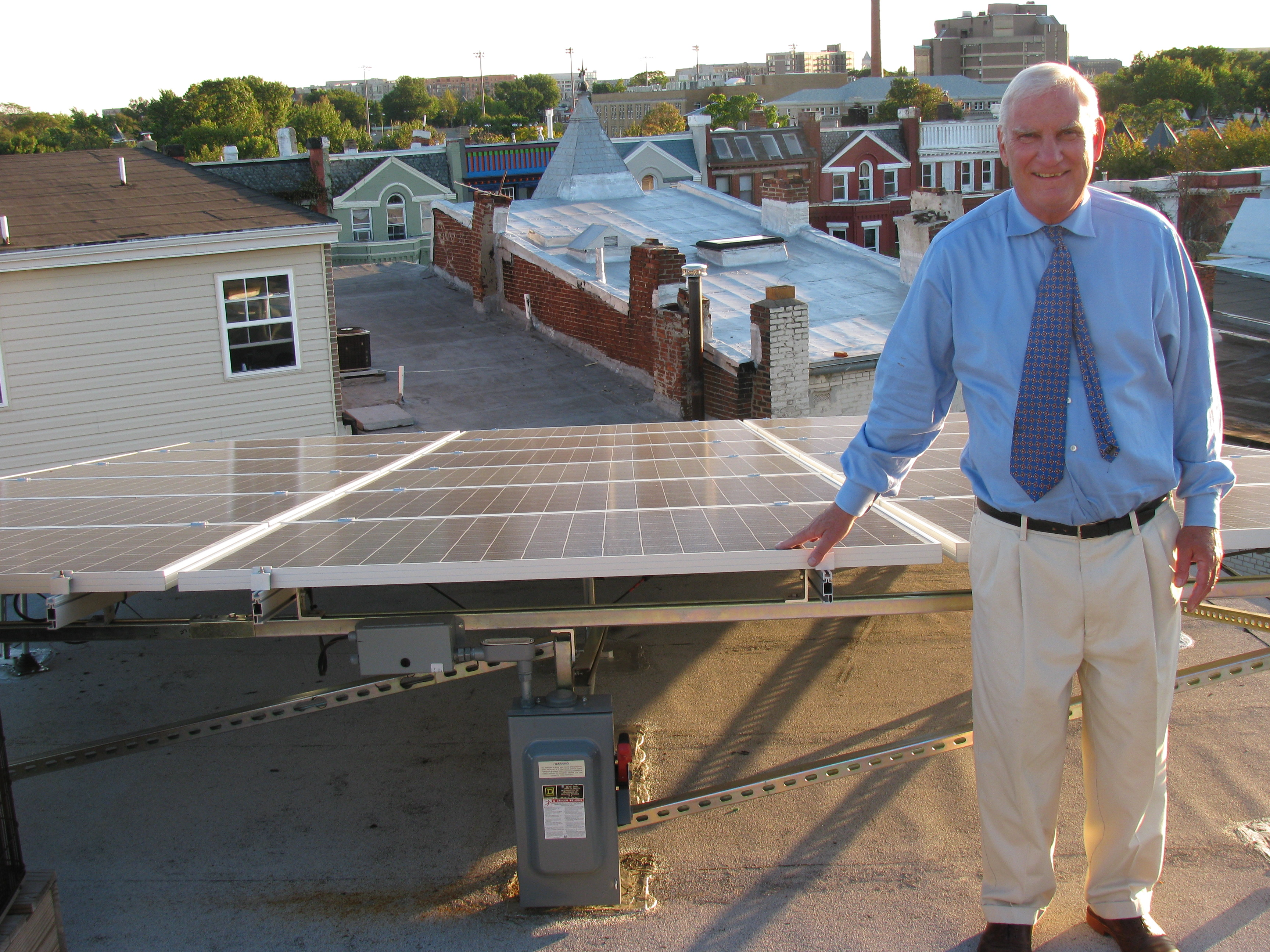 Fred Sullivan with his solar installation