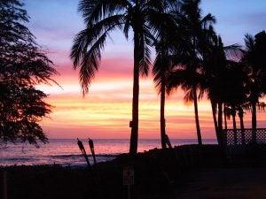 A sunset on a Hawaiian beach