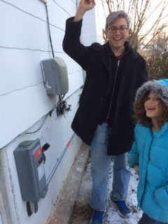 The Schneider family with their inverter