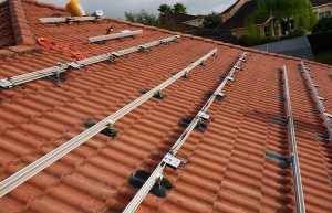 Solar installation on clay tile roof