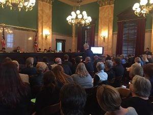 Solar supporters in Ohio testify before the state senate to defend the state's renewable portfolio standard.