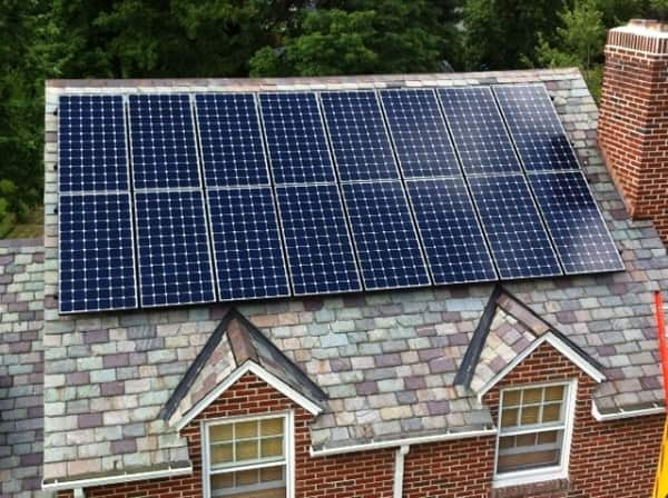 Solar installation on a slate roof