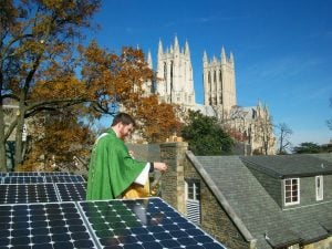 Blessing ceremony for a solar system at St. Alban's Episcopal Church in Washington, D.C.