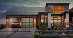 stock image of Tesla solar shingles