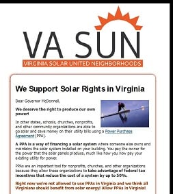 We Support Solar Rights in Virginia