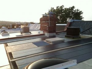 A flat roof solar array in D.C.