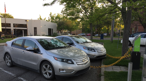 Two Chevy volts charging
