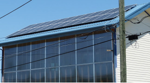 Solar panels mounted on an office building