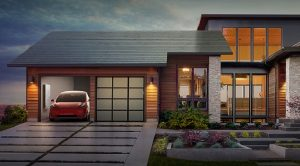 Artist's rendition of a home with Tesla solar shingles
