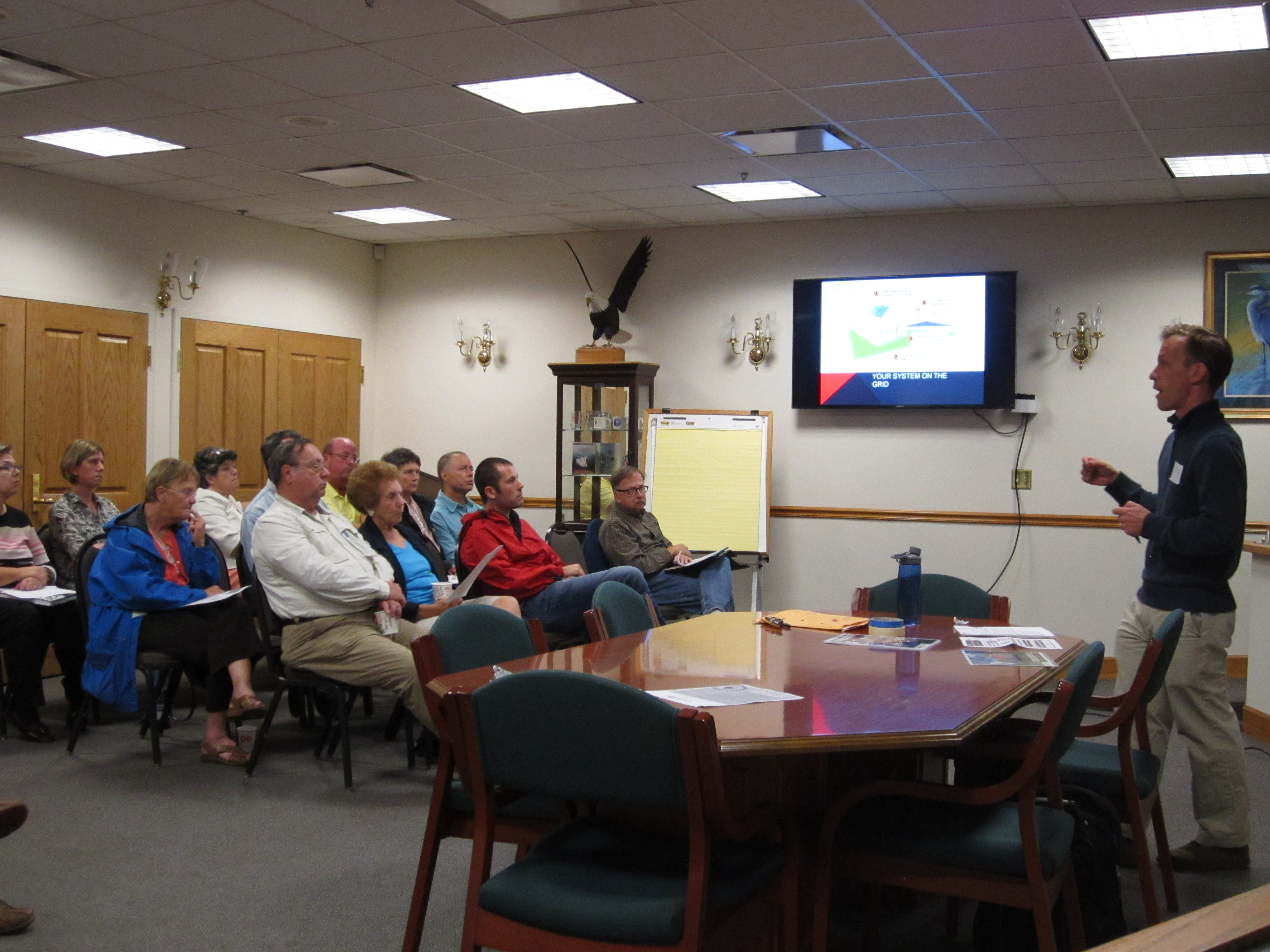 Paul and Gail seen here attending a Cecil Solar Co-op info session.