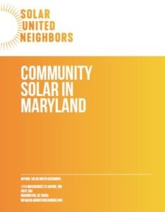 cover of the community solar in Maryland report