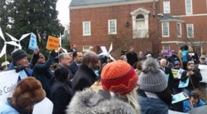 Dozens rallied in support of Clean Energy Jobs on Wednesday, January 10, 2017.