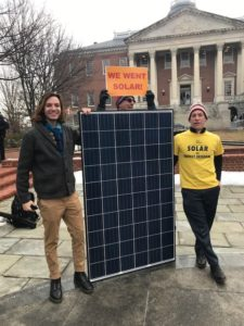 Former solar co-op participants joined the rally to support clean energy in Maryland