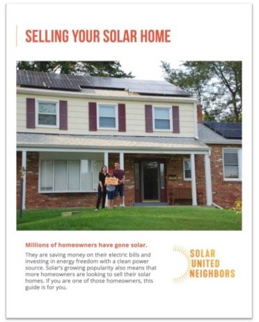 front page of the selling your solar home guide