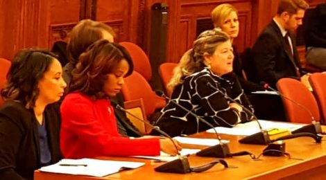 Solar United Neighbors Executive Director Anya Schoolman testifies in favor of solar bills at a D.C. Council hearing on December 13, 2017.