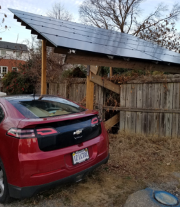 Electric vehicle and a ground mounted solar system