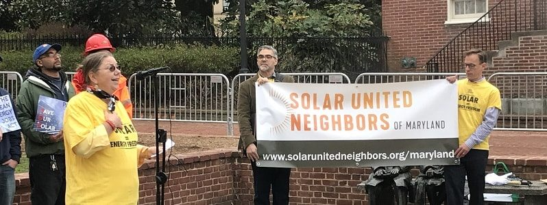 Solar United Neighbors of Maryland volunteer Nancy Franklin speaks at a Maryland Statehouse solar rally in 2018.