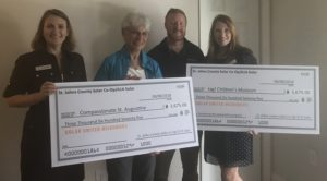 Donation of checks to local charities