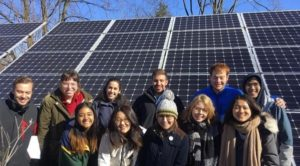 Students from University of Pennsylvania with a solar array