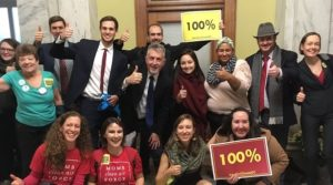 Coalition members celebrate the passage of the Clean Energy DC Act, which will power D.C. with 100% renewable energy by 2032. Photo credit: DC Climate Coalition
