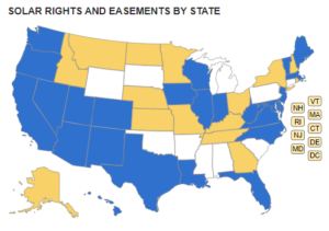 Map of solar rights & easements by the Community Associations Institute.