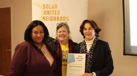 CM Mary Cheh receives solar award from Solar United Neighbors