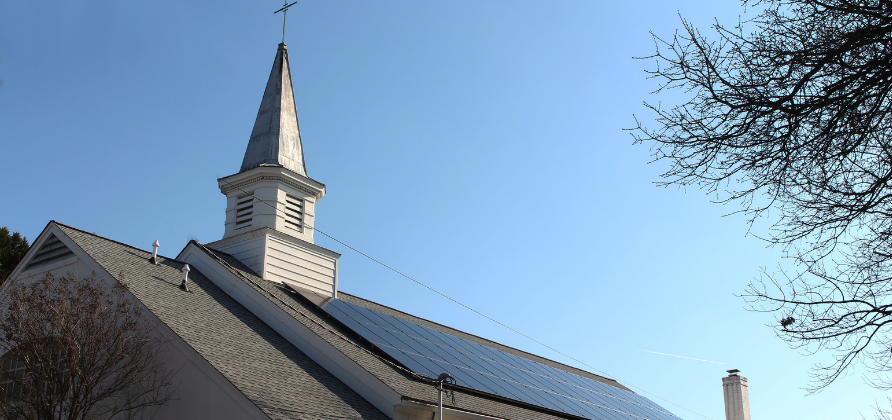 Rooftop array on Our Lady Queen of Peace in Arlington, VA