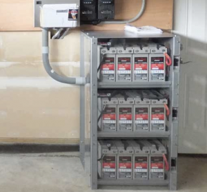 Lead-acid battery cabinet.