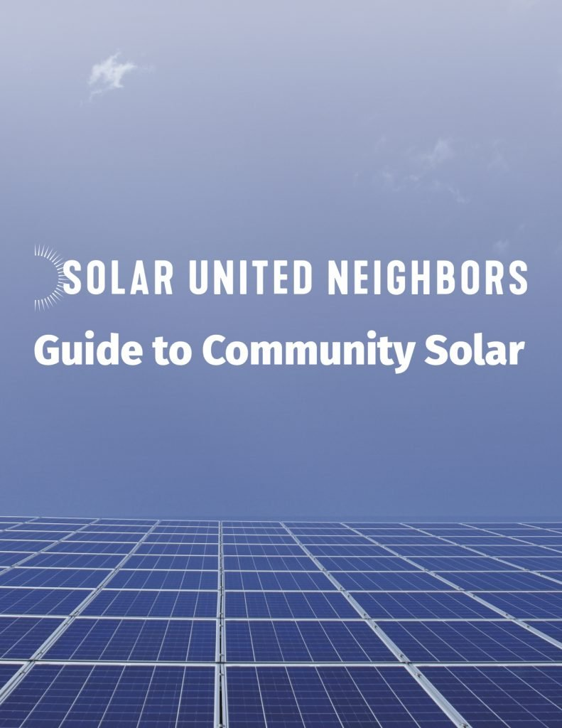 cover of the community solar guide, sky and solar panels