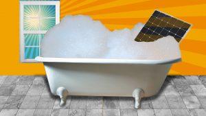 solar panel in a bathtub