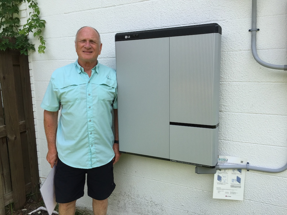 Man with battery storage unit