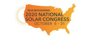 "orange-colored map of the US that reads ""national solar congress October 5-31"""
