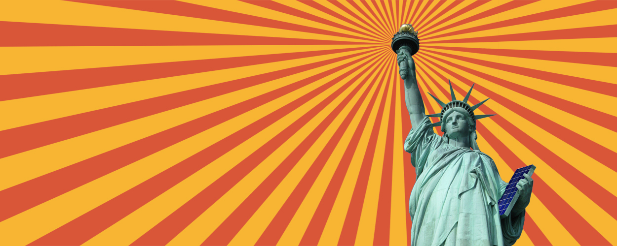 Statue of Liberty with orange and yellow background