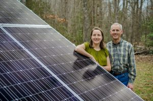solar homeowners with a ground-mounted array