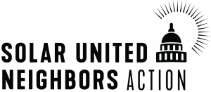 Logo for Solar United Neighbors Action. It includes a drawing of the Capitol building surrounded by sun rays